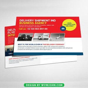Free Delivery Shipment Postcard Psd Template