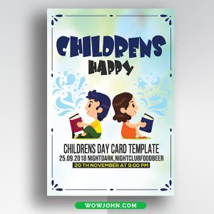 Free Children's Day Card Psd Template Download