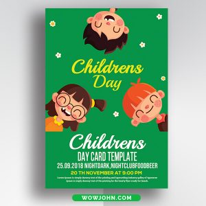 Free Children Day Card Psd Template