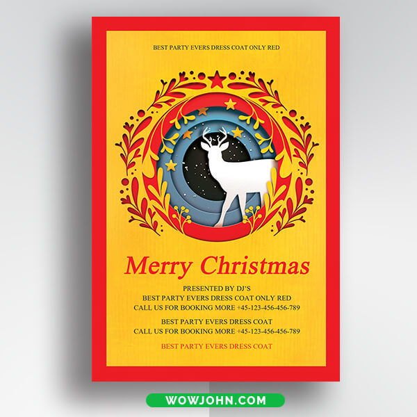 Free Christmas Holiday Thank You Card Psd Template