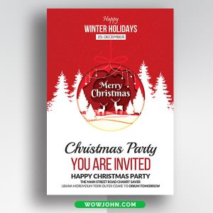 Free Christmas Invitation Card Psd Template