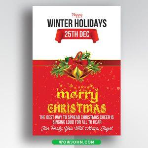 Free Modern Merry Christmas Card Psd Template
