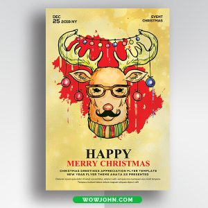 Free Merry Christmas Card Psd Template Download