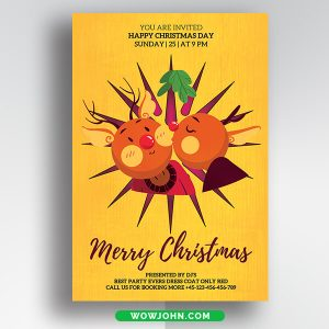 Free Colorful Christmas Card Psd Template Download