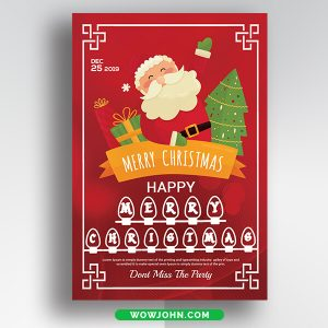 Free Merry Christmas & New Year Card Psd Template