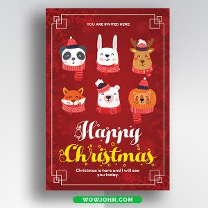 Free Funny Christmas Card Vector PSD Format