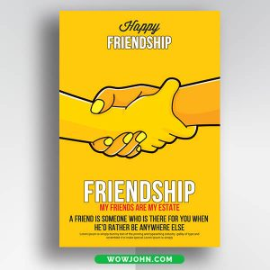 Simple Friendship Day Card Psd Template