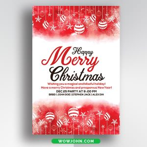 Red Merry Christmas Greeting Card Psd Template