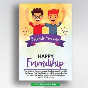 Free Friendship Day Postcard Psd Template