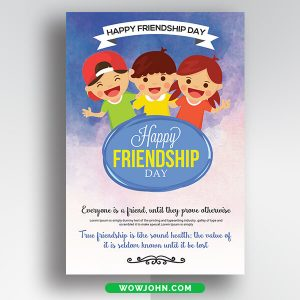 Free Watercolor International Friendship Day Thank You Card Psd Template