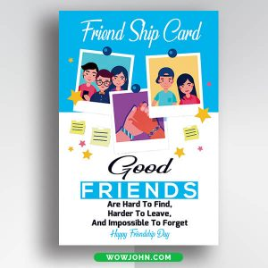 Free Friendship Day Card Flyer Psd Template
