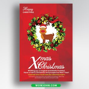 Free Merry Christmas Greeting Card Psd Template