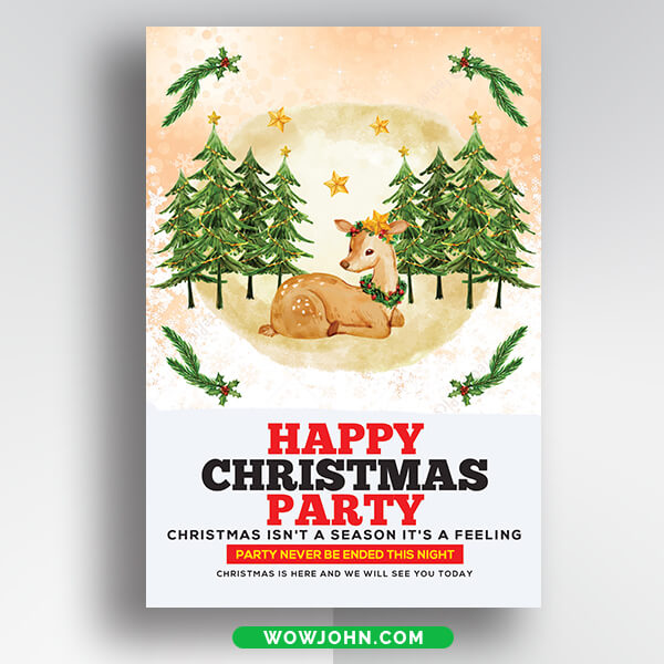 Free White Christmas Holiday Greeting Card Psd Template
