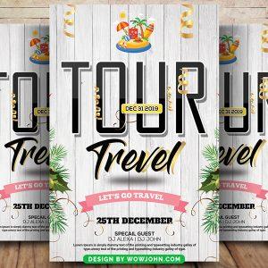Free White Tour Travel Flyer Psd Template