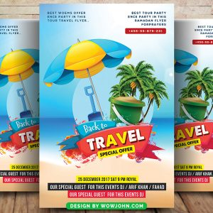 Free Beach Travel Tour Flyer Psd Template