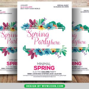 Free Spring Party Flyer PSD Template Download