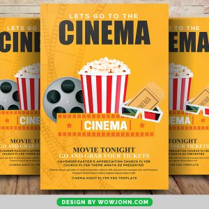 Free Movie Night Poster and Flyer PSD Template