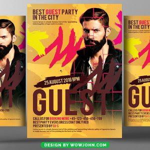 Free DJ Night Club Guest Flyer Psd Template