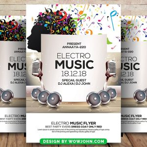Free Electro Music Flyer Psd Template