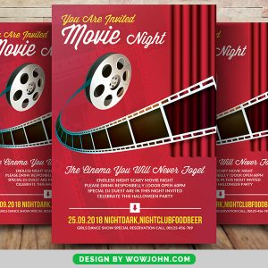 Free Movie Night Party Psd Flyer Template
