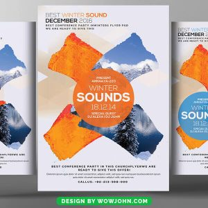 Free Winter Music Sounds Party Flyer Psd Template