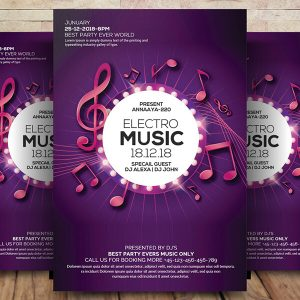 Electro Music Flyer Free Psd Template Download