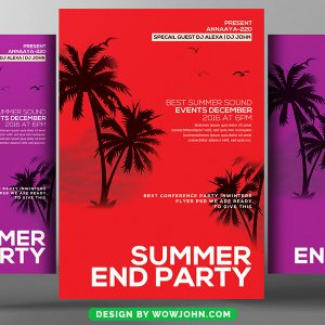Free Summer End Party Flyer Psd Template