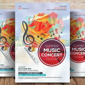 Free Summer Music Concert Flyer Psd Template