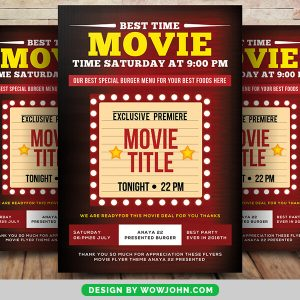 Free Movie Night Psd Flyer Poster Template