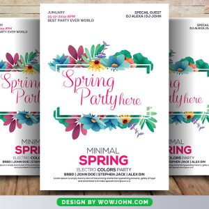 Free Spring Party Flyer Psd Template