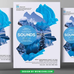 Free Blue Winter Watercolor Flyer Psd Template