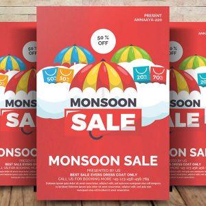 Free Monsoon Sale Flyer Psd Template