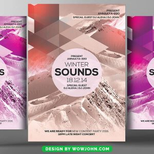 Free Winter Concert Watercolor Flyer Psd Template