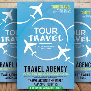 Free Clean Travel Tour Flyer Psd Template