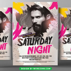 Free Saturday Night Party Flyer Psd Template