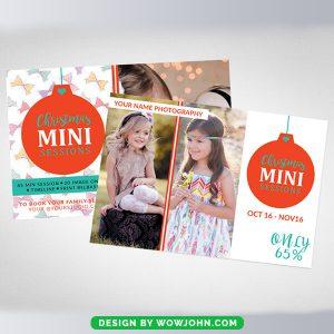 Christmas Mini Sessions Photos Card Psd Template