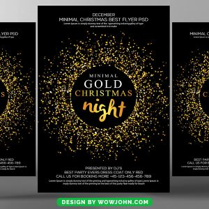 Free Gold Sparkle Christmas Flyer Psd Template
