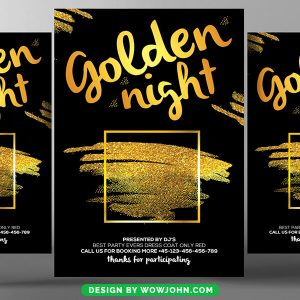 Free Gold Night Party Flyer Psd Template