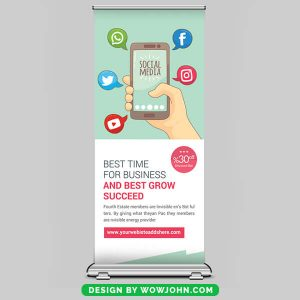 Free Social Media Roll up Banner Psd Template