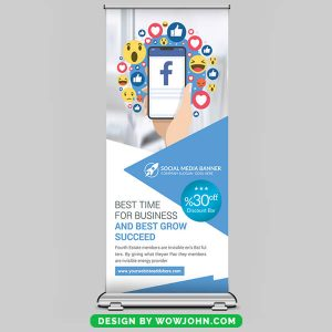 Free Mobile Apps Roll up Banner Psd Template