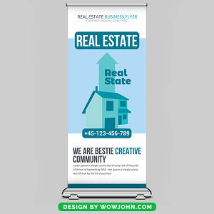 Free Real Estate Roll up Banner Psd Template