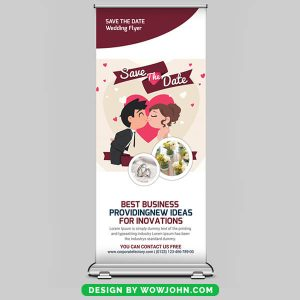 Free Valentines Day Roll Up Banner Psd Template
