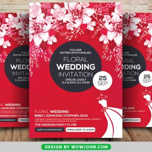 Free Floral Wedding Invitation PSD Flyer Template