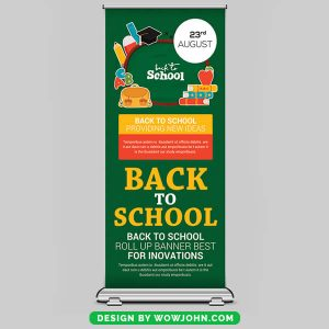Free Back To School Roll Up Banner Psd Template