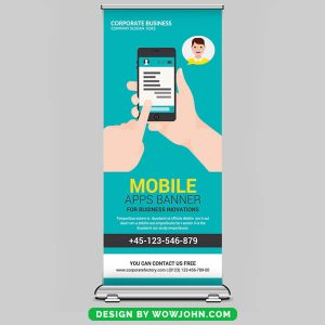 Free Mobile Apps Roll Up Banner Psd Download