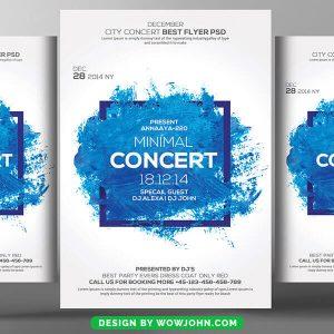 Free Blue Minimal Concert Flyer Psd Template