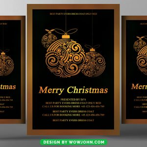 Free Merry Christmas Greeting Card Flyer Psd Template