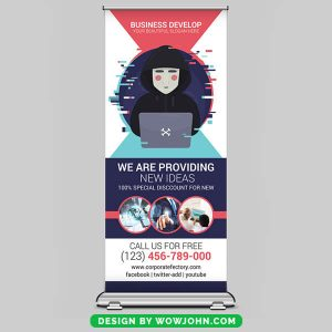 Free Web Design Roll Up Banner Psd Template