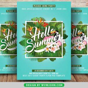 Free Summer Flowers Flyer PSD Template
