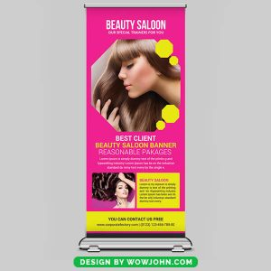 Free Beauty Saloon Roll Up Banner Psd Template